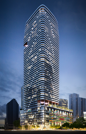The height of the SLS Lux tower was increased by purchasing the air rights of two historic properties in Miami's MiMo District.