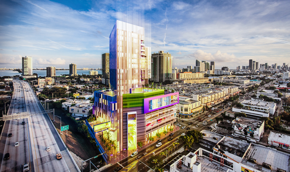 A rendering of the 296-room Triptych, which developer HES is building in Downtown Miami's Design District.