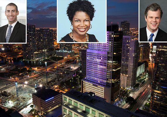 The Miami skyline (Credit: Gabriel Kaplan) and Matthew Ellish, Shekeria Brown and Stockton Williams