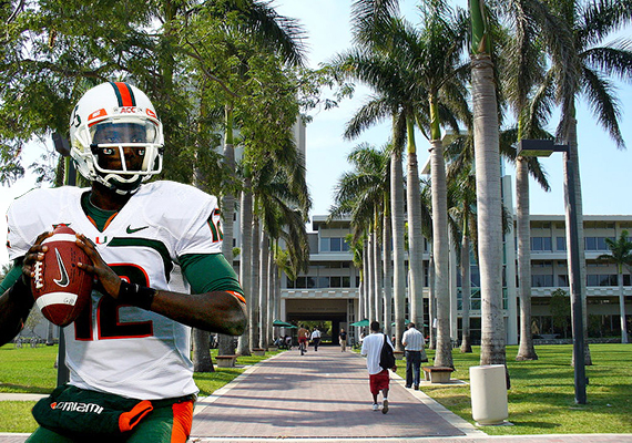 The University of Miami and a UM football player (Credit: Michael Tipton)