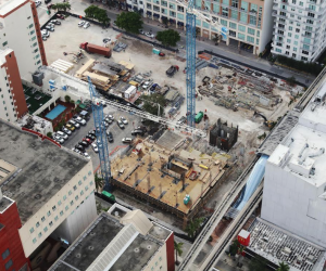 Aerial view of the Vice construction site in downtown Miami