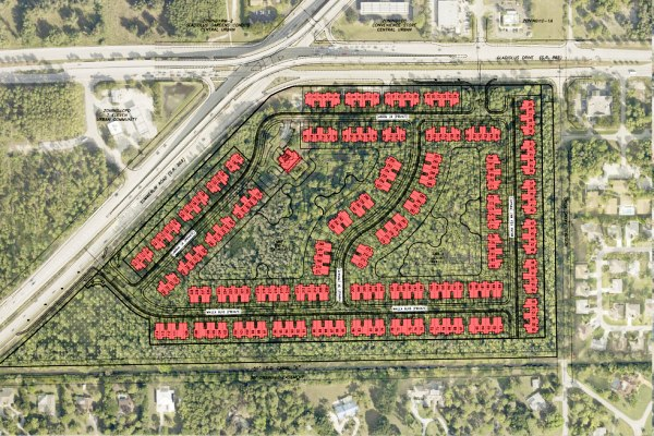 Aerial view of Venetian Pointe site in Fort Myers with graphic overlay showing planned homes