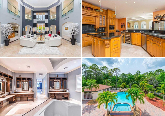 Interior shots and the home's pool