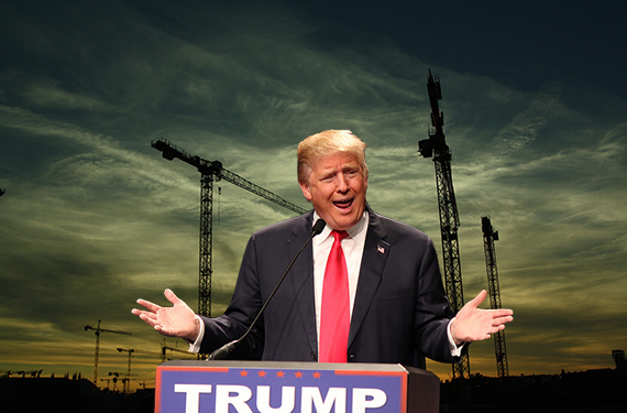 Construction cranes and Donald Trump (Credit: Evan Guest)