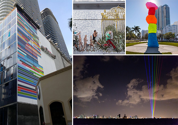 Clockwise from left: Mural at Brickell Heights, Wynwood Walls, Collins Park installation, and the Ritz Rainbow