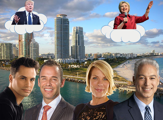 South Beach skyline. Clockwise from left: Donald Trump, Hillary Clinton, Nelson Gonzalez, Mika Mattingly, Jay Parker and Kevin Tomlinson