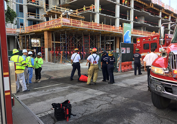 Fire rescue crews gather around the Midtown 29 construction site Tuesday (Credit: city of Miami Fire Department)