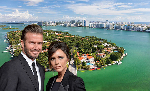 Aerial view of 45 Star Island Drive. Inset: David and Victoria Beckham (Credit: Getty Images)