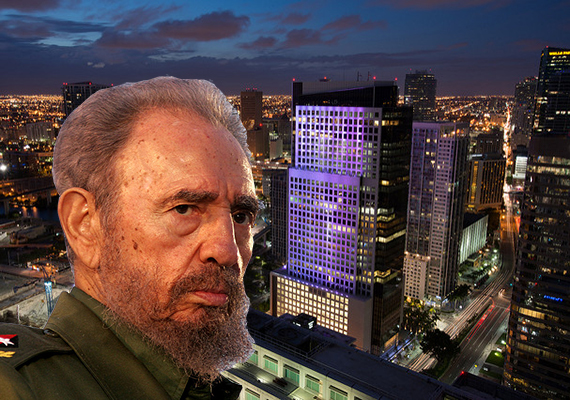 The Miami skyline (Credit: Gabriel Kaplan) and Fidel Castro (Credit: Sven Creutzmann)
