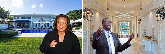 Rosie O'Donnell and her house at , and Ben Carson and his house at