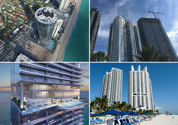 Clockwise From Left Porsche Design Tower The Skyline Trump Royale And A Rendering Of Turnberry Ocean Club Credit Arx Solutions
