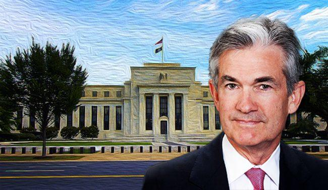Jerome Powell and the Federal Reserve building in Washington D.C