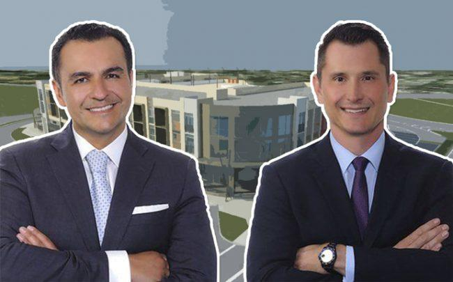 Camilo Niño and Ricardo Uribe of LV Lending and a rendering of Miami Springs Town Center
