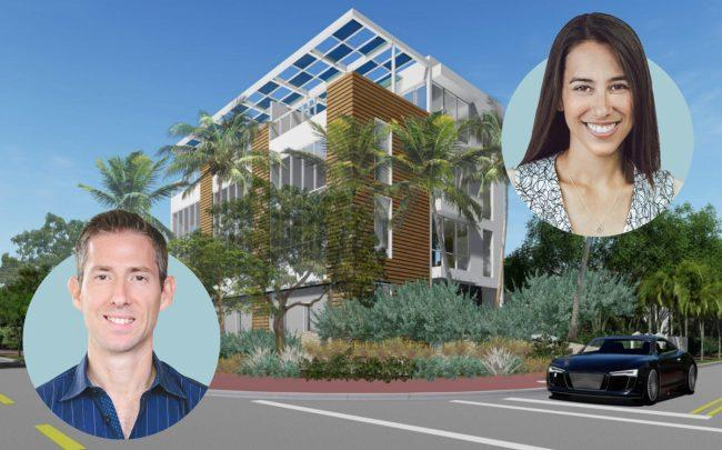 A rendering of 1425 Bay Road with Grayscale Partners' Nathalie Manzano (right) and Theodore Caplow (Credit: LinkedIn and Wikipedia)