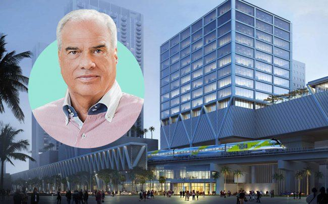 Shorenstein Properties co-chairman Michael Rossi and a rendering of MiamiCentral Station