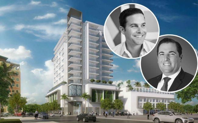 Alberto J. Pérez and Jorge Navarro and a rendering of 100 Miracle Mile (Credit: AJP Ventures)