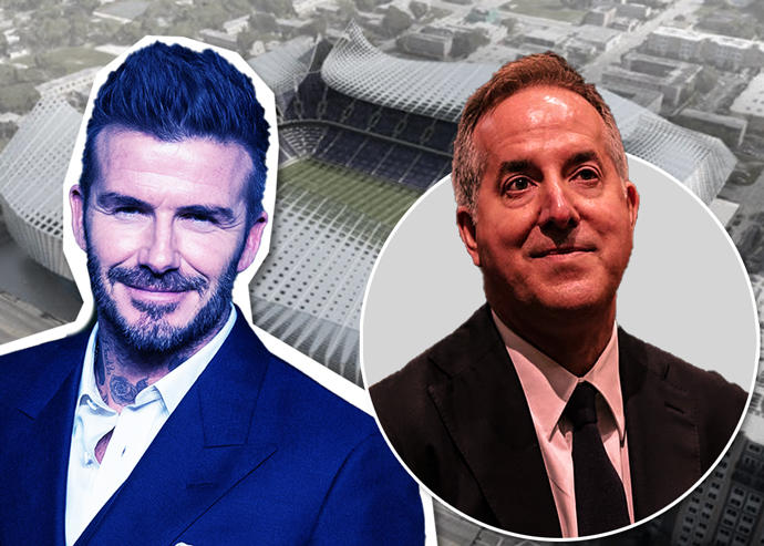 David Beckham, Jorge Mas and a rendering of the Overtown stadium
