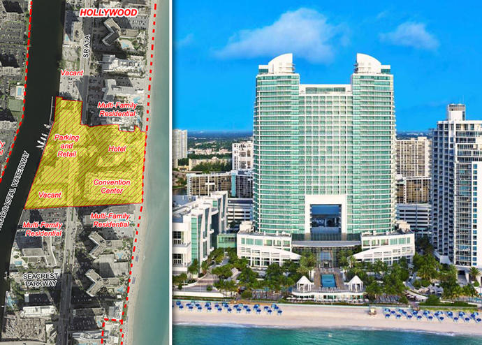 Diplomat Beach Resort Hollywood and a map of the proposed land usage