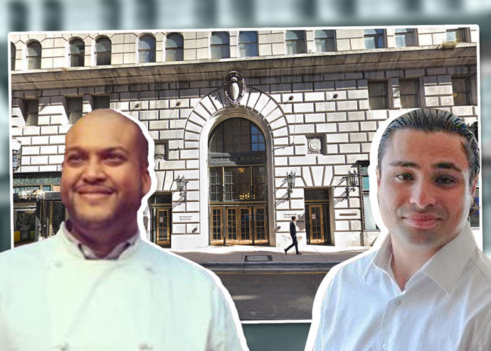 Chef Timon Balloo and Felix Bendersky with the Ingraham Building (Credit: Twitter, Facebook and Google Maps)