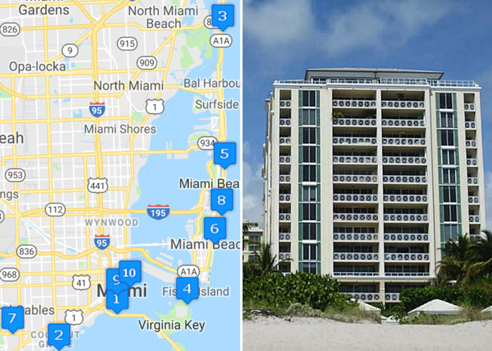 Map of priciest condo sales and Grand Bay Tower unit 502 (Credit: Google Maps and AF Realty)