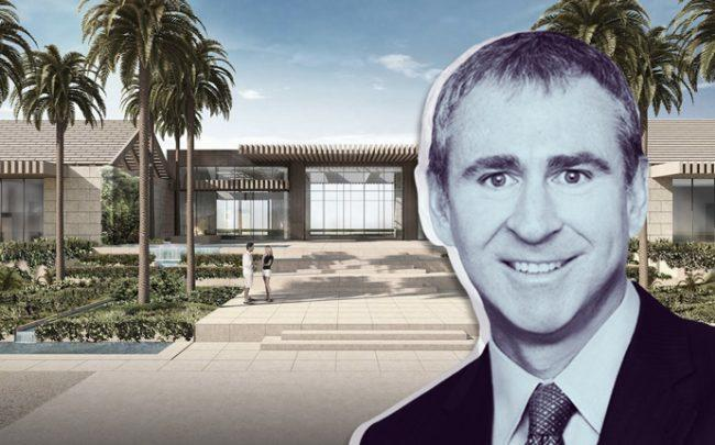 Ken Griffin and a rendering of the project (Credit: Town of Palm Beach via Chicago Tribune)