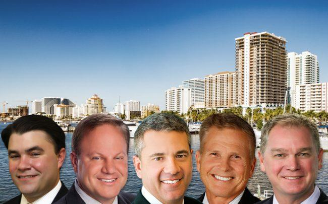 From left: Kyle Jones of Stiles Corp., Mark Corlew of Grover Corlew, Christian Lee of CBRE, Rod Loschiavo of Colliers International South Florida, and Greg Martin of Avison Young