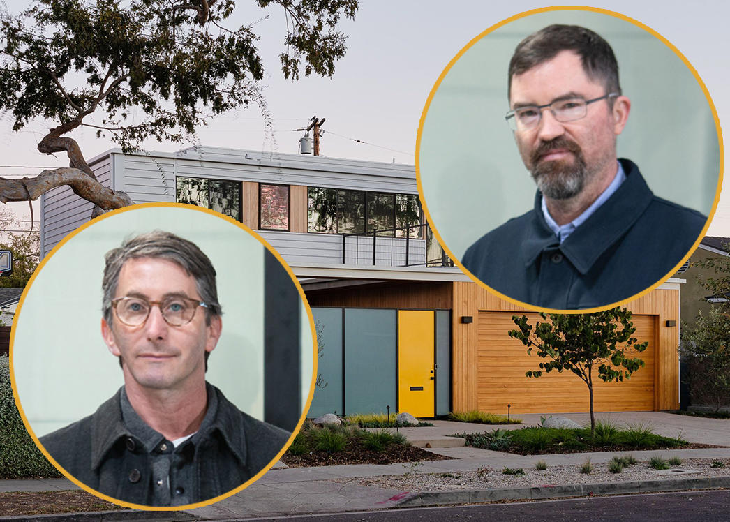 Jared Levy (L) and Gordon Stott (R) and a prefab home in Culver City
