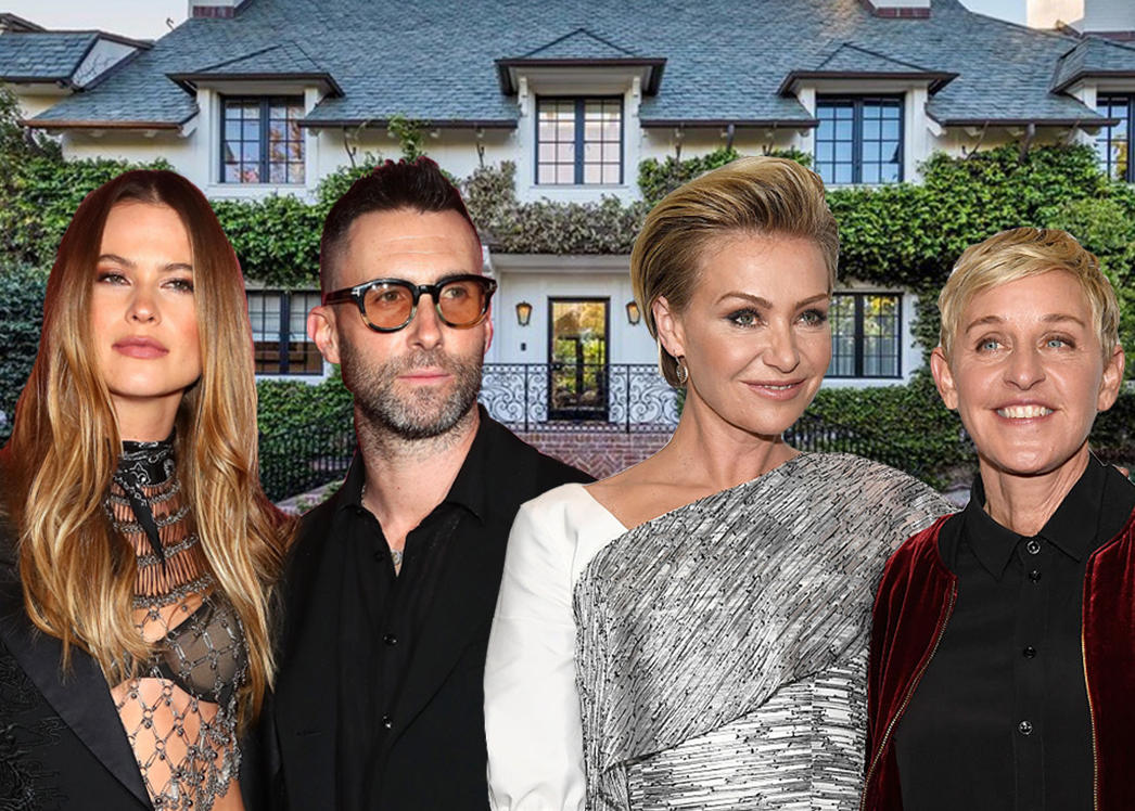 From left: Behati Prinsloo and Adam Levine, Portia de Rossi and Ellen DeGeneres, and 825 Loma Vista Drive (Credit: Getty Images)