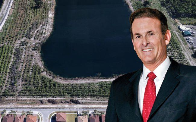 Lennar Corp. Executive Chairman Stuart Miller and an aerial view of 10350 Southwest 232nd Street (Credit: Google Maps)