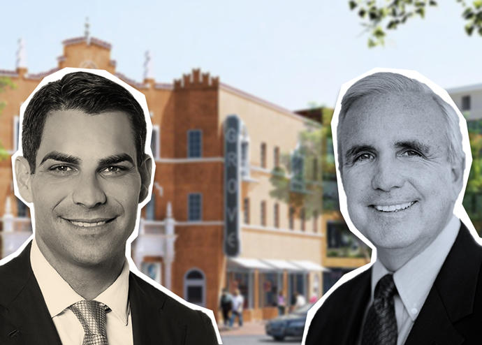 Carlos Gimenez, Francis Suarez and a rendering of the Coconut Grove Playhouse