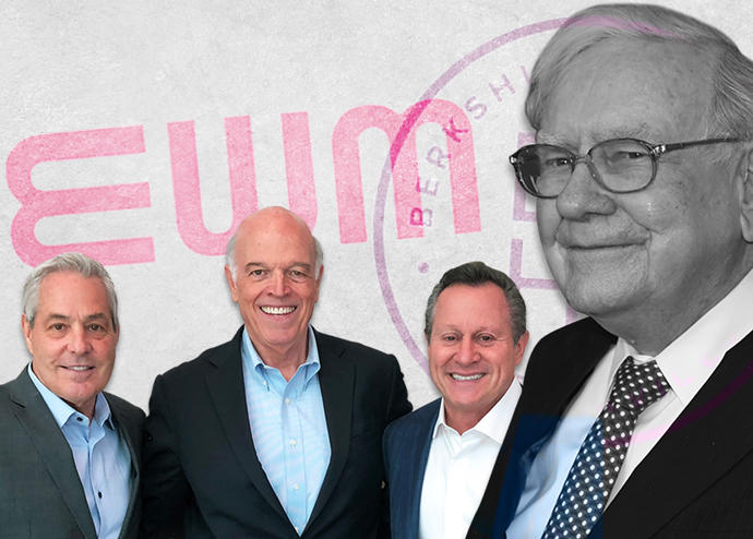 From left: Ron Peltier, Ron Shuffield, Gino Blefari and Warren Buffet (Credit: Getty Images)