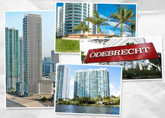 From left, clockwise: Marquis Miami, the Bath Club, an Odebrecht sign, and Peninsula 2 condos (Credit: Wikipedia)