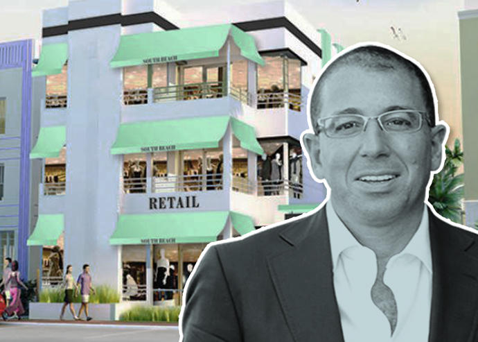 Thor Equities CEO Joseph J. Sitt and a rendering of 852 Collins Avenue (Credit: Thor Equities)