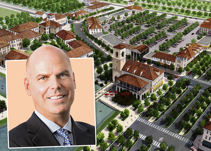 Douglas C. Yearley, Jr. Chairman and Chief Executive Officer of Toll Brothers with a rendering of the Avenir Development
