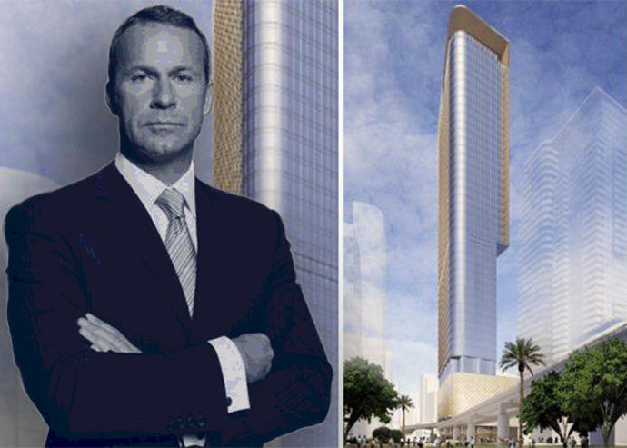 Vlad Doronin and a rendering of 888 Brickell Plaza