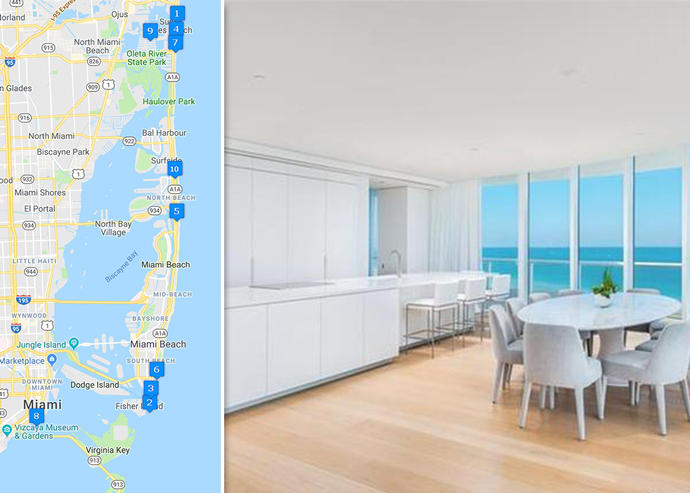 Map of priciest condo sales and Continuum South Beach unit 1006/1107 (Credit: Google Maps and Redfin)