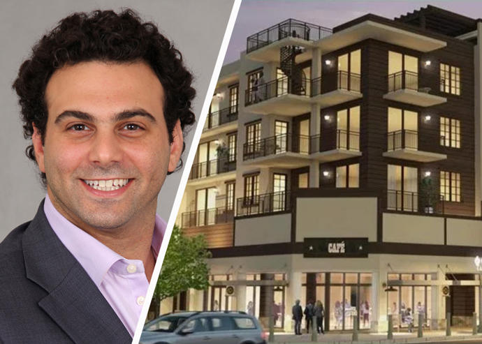 Ceiba Groupe's Managing Principal Adam Bedzow and a rendering of Suede Downtown Davie