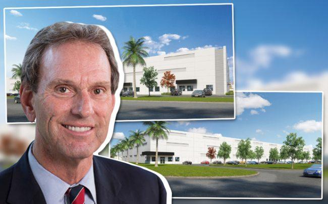 CenterPoint CEO Bob Chapman and renderings of Port Everglades International Logistics Center