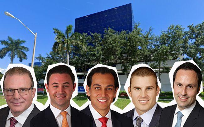 1700 Palm Beach Lakes Boulevard, and from left, Scott O'Donnell, Mike Ciadella, Dominic Montazemi, Gregory Miller and Miguel Alcivar (Credit: Google Maps)