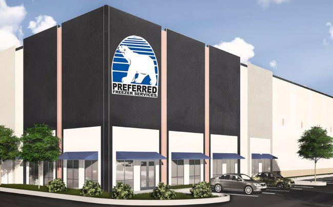A rendering of a building in the Countyline Corporate Park, with the Preferred Freezer Services logo
