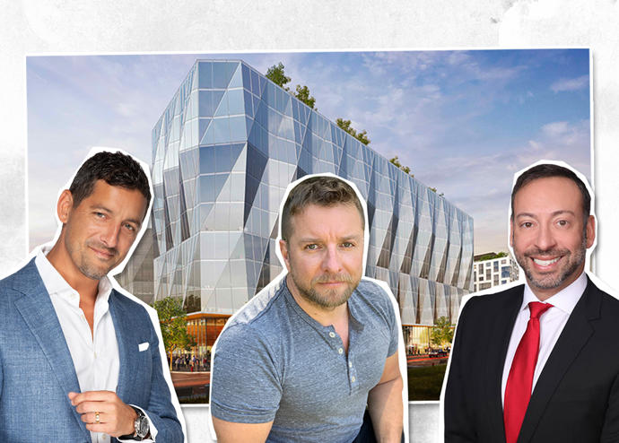 Bradley Colmer, Greg Togel and Dan Marinberg with a rendering of the project