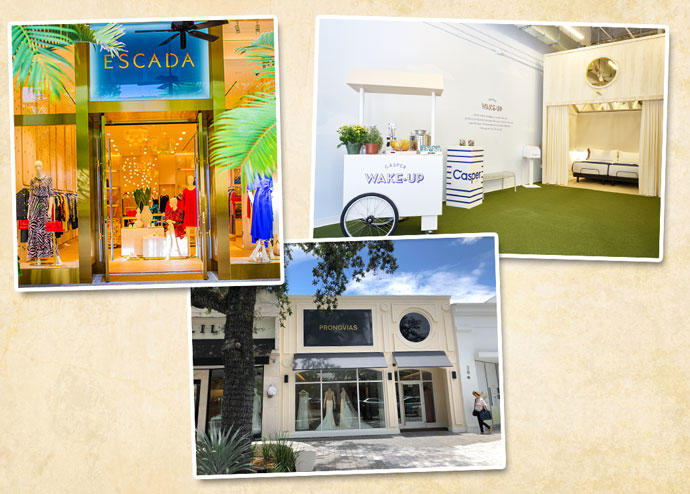 From left: Escada at Bal Harbour Shops, Pronovias on Miracle Mile, and The Casper Wake-Up on Lincoln Road.