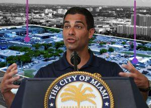 The Allapattah properties and Miami Mayor Francis Suarez (Credit: CBRE, Getty Images)