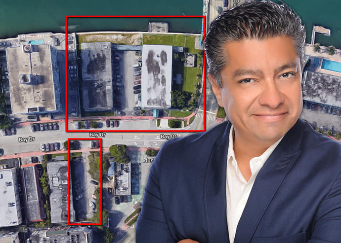 Douglas Elliman's Jose Melgar and an aerial view of the property