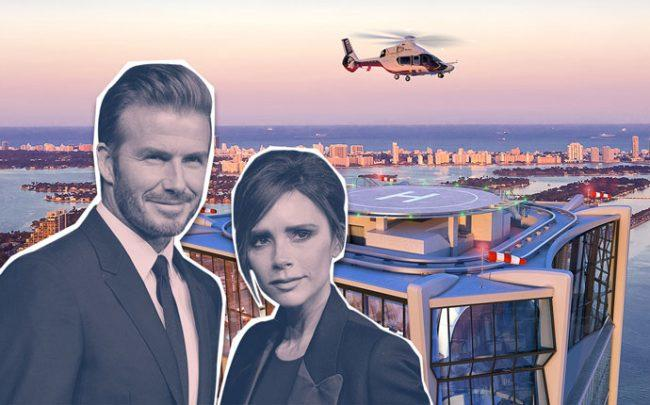 David and Victoria Beckham with a rendering of One Thousand Museum (Credit: Getty Images)