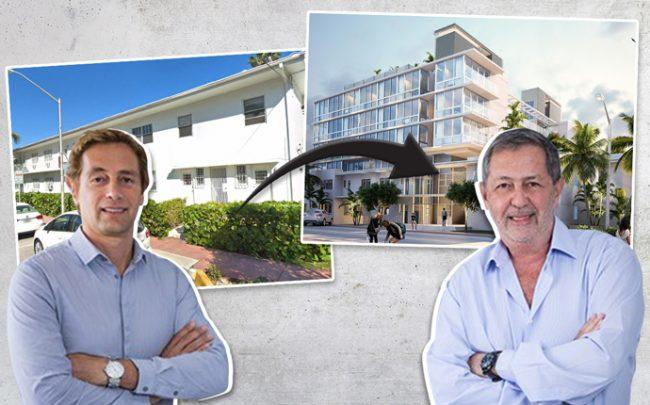 Marcelo Tenenbaum and Jorge Savloff with the current building next to a rendering of the project