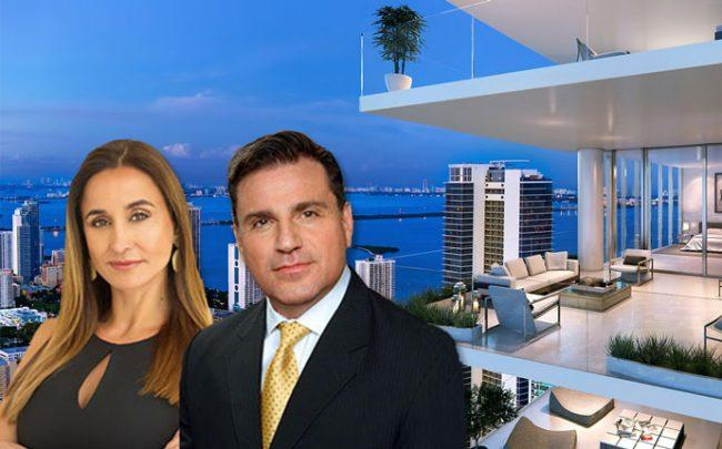 Peggy Fucci, Dan Kodsi and a rendering of Paramount Miami Worldcenter