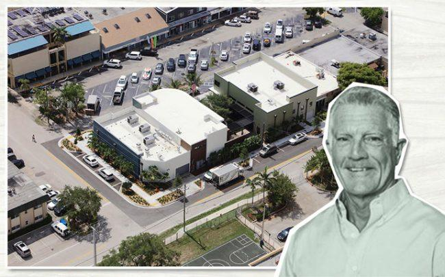 Paul Flanigan and an aerial photo of the site in Fort Lauderdale