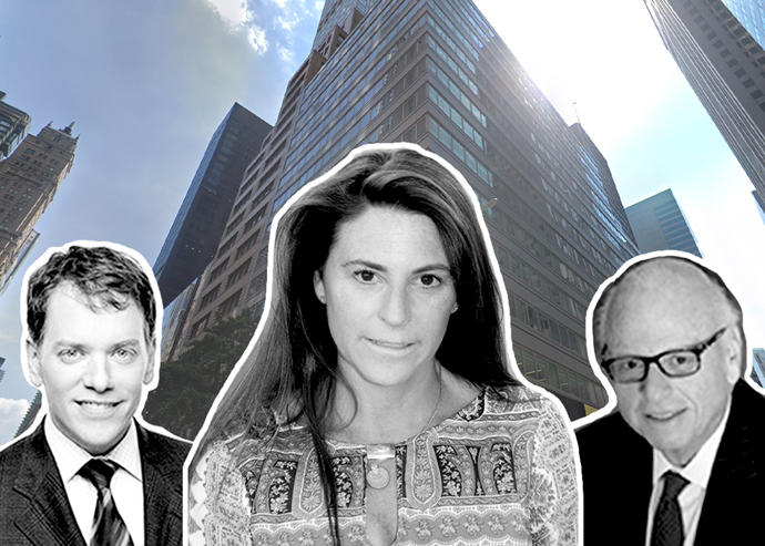 From left: Scott Durkin, Stephanie Garbarini and Howard Lorber in front of Douglas Elliman's headquarters at 575 Madison Avenue (Credit: Google Maps, Douglas Elliman)