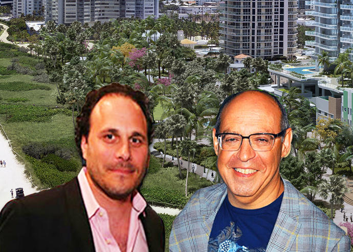 Sandor Scher and Alex Blavatnik with a rendering of the project